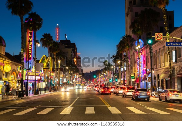LOS ANGELES - CIRCA AUGUST 2018: Hollywood street night view