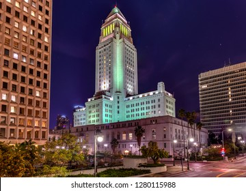 Los Angeles City Hall building at night in California, United States