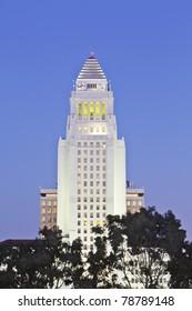 Los Angeles City Hall  at dusk.