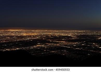 Los Angeles city lights at dusk