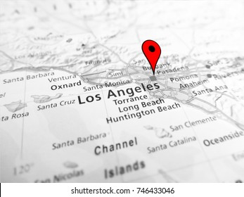 Los Angeles city over a road map (USA)