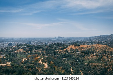 Los Angeles city skyline landscape and hills