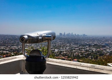 Los Angeles city skyline seen from Griffith Observatory in Los Angeles California.