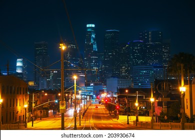 Los Angeles cityscape at the night time