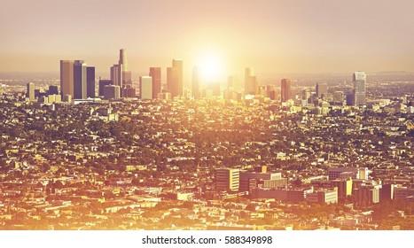 Los Angeles Cityscape Summer. L.A. Metro Area Panorama Photo. California, United States of America.