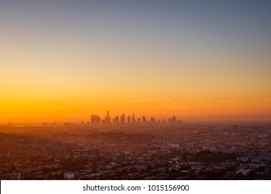 Los Angeles cityscape viewed from Griffith observatory at sunrise, California, USA
