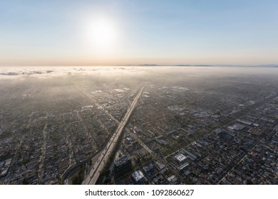 Los Angeles coastal afternoon fog above the 405 freeway in Southern California.