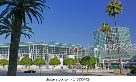 LOS ANGELES CONVENTION CENTER, CALIFORNA USA JULY 14, 2019: The conference center in downtown LA was designed by architect Charles Luckman. It opened in 1971 and expanded in 1981, 1993 and 1997.