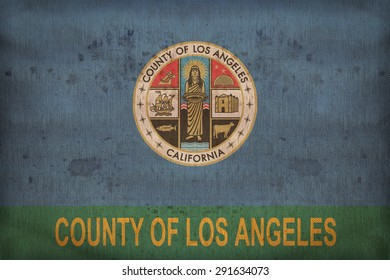 Los Angeles County , California flag on fabric texture,retro vintage style