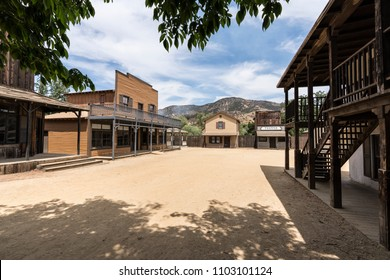 Los Angeles County, California, USA - May 29, 2018:  Historic movie set street owned by US National Park Service at Paramount Ranch in the Santa Monica Mountains National Recreation Area.