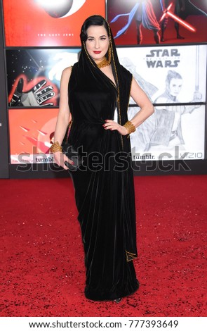 93c24501ff1f LOS ANGELES - DEC 09  Dita von Teese arrives for the  Star Wars  The Last  Jedi  World Premiere on December 09
