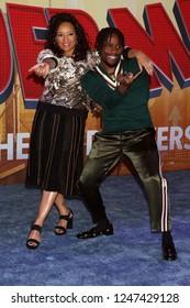 "LOS ANGELES - DEC 1:  Lauren Velez, Shameik Moore at the ""Spider-Man:  Into the Spider-Verse"" Premiere at the Village Theater on December 1, 2018 in Westwood, CA"