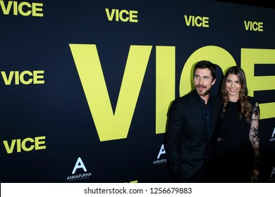 """LOS ANGELES - DEC 11:  Christian Bale, Sibi Blazic at the """"Vice"""" Prmiere at the Samuel Goldwyn Theater on December 11, 2018 in Beverly Hills, CA"""