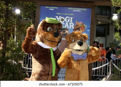 "LOS ANGELES - DEC 11:  Yogi Bear & BooBoo arrives at the ""Yogi Bear 3-D"" Premiere at The Village Theater on December 11, 2010 in Westwood, CA."
