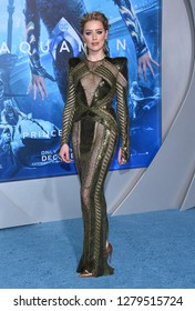 LOS ANGELES - DEC 12:  Amber Heard arrives to 'Aquaman' Hollywood Premiere  on December 12, 2018 in Hollywood, CA