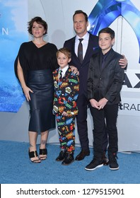 LOS ANGELES - DEC 12:  Dagmara Dominczyk, Patrick Wilson, Kalin Patrick Wilson, Kassian McCarrell Wilson arrives to 'Aquaman' Hollywood Premiere  on December 12, 2018 in Hollywood, CA