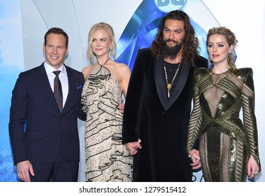 LOS ANGELES - DEC 12:  Patrick Wilson, Nicole Kidman, Jason Momoa and Amber Heard arrives to 'Aquaman' Hollywood Premiere  on December 12, 2018 in Hollywood, CA
