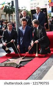 LOS ANGELES - DEC 13:  Chamber officials, Jay Leno, Hugh Jackman, Leron Gubler at the Hollywood Walk of Fame ceremony for Hugh Jackman at Hollywood Boulevard on December 13, 2012 in Los Angeles, CA