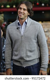 """LOS ANGELES - DEC 13: """"The Bachelor"""" Ben Flajnik tapes an interview with """"Extra"""" at The Grove in Los Angeles, CA on December 13, 2011."""