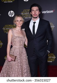 """LOS ANGELES - DEC 14:  Adam Driver & Joanne Tucker arrives to the """"Star Wars: The Force Awakens"""" World Premiere  on December 14, 2015 in Hollywood, CA."""