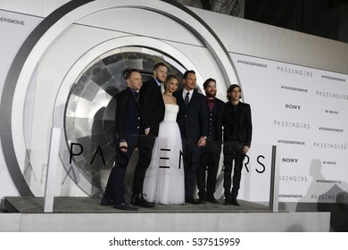 "LOS ANGELES - DEC 14:  Imagine Dragons, Jennifer Lawrence, Chris Pratt at the ""Passengers"" Premiere at Village Theater on December 14, 2016 in Westwood, CA"