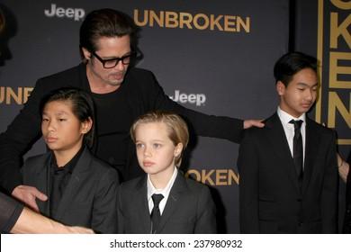 "LOS ANGELES - DEC 15: Brad Pitt, Pax Thien Jolie-Pitt, Shiloh Nouvel Jolie-Pitt, Maddox Jolie-Pitt at the ""Unbroken"" - Los Angeles Premiere at the Dolby Theater on December 15, 2014 in Los Angeles, CA"