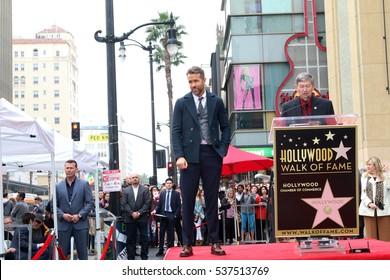 LOS ANGELES - DEC 15:  Ryan Reynolds, Leron Gubler at the Ryan Reynolds Hollywood Walk of Fame Star Ceremony at the Hollywood & Highland on December 15, 2016 in Los Angeles, CA