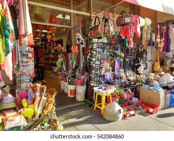 LOS ANGELES, DEC 17TH, 2016: A typical store front of a small souvenir shop in Chinatown Los Angeles.