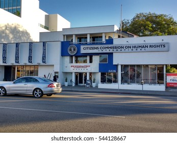 LOS ANGELES, DEC 19, 2016: Headquarters of the Citizens Commission on Human Rights, a nonprofit organization established in 1969 by the Church of Scientology and psychiatrist Thomas Szasz.