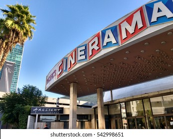 LOS ANGELES, DEC 19TH, 2016: Close up, low angle shot of the marquee in front of the historic Cinerama Dome movie theater.
