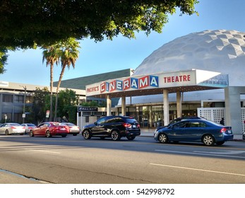 LOS ANGELES, DEC 19TH, 2016: The famous Cinerama Dome movie theater on Sunset Boulevard in Hollywood.
