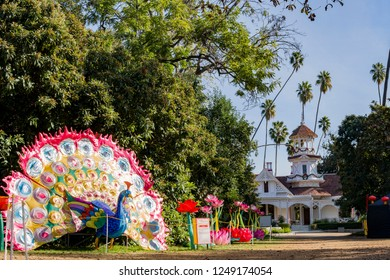 Los Angeles, DEC 2: Morning view of the colorful peacock lantern of Moonlight Forest Festival on DEC 2, 2018 at Los Angeles