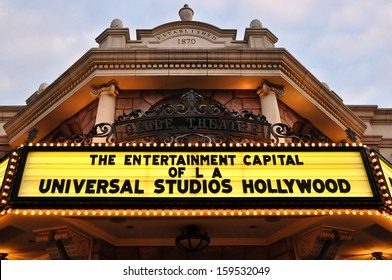 Los Angeles - Dec 26, 2009: Universal Studios, the entrance of a vintage movie theater in Hollywood with signs on neon lights