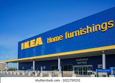 Los Angeles, DEC 28: Exterior view of the famous IKEA furniture stores on DEC 28, 2017 at Los Angeles, California
