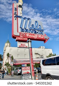 LOS ANGELES, DEC 29, 2016: Close-up of sign of Mels Drive-In restaurant in Hollywood near Hollywood Boulevard's Walk of Fame. The historic chain has been featured in movies, such as American Graffiti.