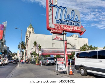 LOS ANGELES, DEC 29, 2016: Mels Drive-In restaurant in Hollywood near Hollywood Boulevard's Walk of Fame. The historic chain has been featured in movies, such as American Graffiti.