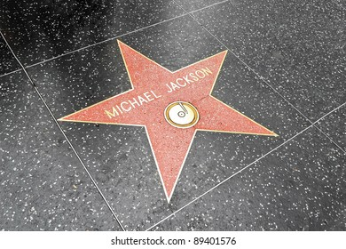 LOS ANGELES DEC 29: Michael Jackson's star on the Hollywood Walk of Fame at Hollywood Blvd on December 29, 2009 in Hollywood, Los Angeles, CA. It is one of 2400 celebrity stars.