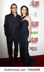 """LOS ANGELES - DEC 8:  Brad Pitt, Angelina Jolie arrives at the """"In the Land of Blood and Honey"""" LA Premiere at ArcLight Cinemas on December 8, 2011 in Los Angeles, CA"""