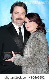 LOS ANGELES - DEC 8:  Nick Offerman, Megan Mullally arrives at the 2011 UNICEF Ball at Beverly Wilshire Hotel on December 8, 2011 in Beverly Hills, CA