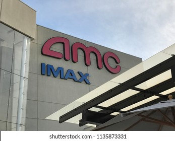LOS ANGELES, DEC 9, 2017: Close up of the AMC and IMAX sign at the AMC Century City theaters at the Westfield shopping mall in Century City.