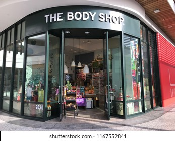 LOS ANGELES, DEC 9, 2017: The Body Shop store exterior at the Westfield Century City mall in Los Angeles, California.