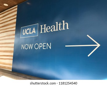 LOS ANGELES, Dec 9, 2017: Close up of the sign and logo of the UCLA Health Center at the Westfield Century City shopping mall in Century City, which provides medical and urgent care.