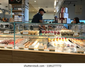 LOS ANGELES, Dec 9, 2017: Display case filled with fresh-baked pastries inside the Eataly store at the Westfield Century City shopping mall in Century City.
