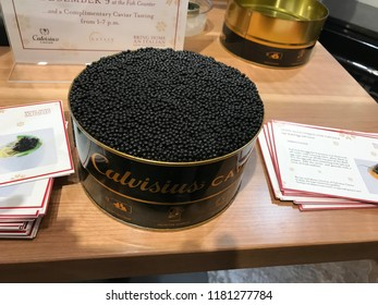 LOS ANGELES, Dec 9, 2017: Close up of a very large open container of very expensive, Italian-made Calvisius caviar, inside the Eataly store at the Westfield shopping mall in Century City.