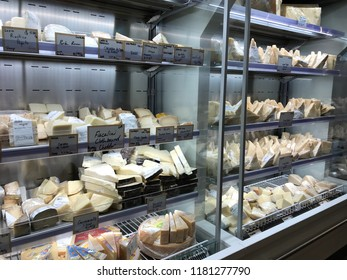 LOS ANGELES, Dec 9, 2017: Large display case filled with a variety of fresh cheeses inside the Eataly store at the Westfield Century City shopping mall in Century City.