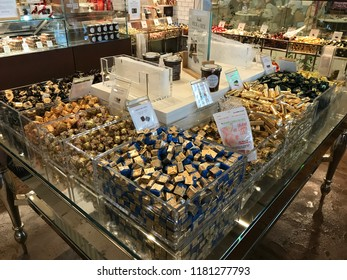 LOS ANGELES, Dec 9, 2017: Close up of a \ large display of expensive chocolate inside the Eataly store at the Westfield Century City shopping mall in Century City.