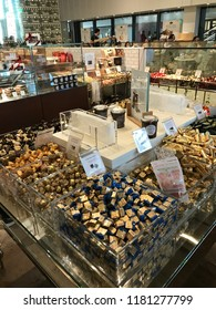 LOS ANGELES, Dec 9, 2017: Close up of a large display of expensive chocolate inside the Eataly store at the Westfield Century City shopping mall in Century City.