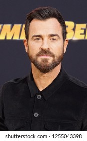 "LOS ANGELES, DEC 9, 2018: Actor Justin Theroux, voice of ""Dropkick"", on the red carpet at the global premiere of Paramount Pictures' new movie Bumblebee,at the Chinese Theatre in Hollywood, California"