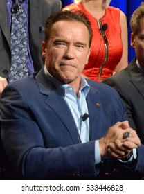 """LOS ANGELES - DEC 9:  Arnold Schwarzenegger at the """"The New Celebrity Apprentice"""" Cast Q&A at Universal Studios on December 9, 2016 in Los Angeles, CA"""