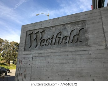 LOS ANGELES, DEC 9TH, 2017: Westfield Shopping Center Century City sign and logo at the entrance close up. Westfield Corporation has just agreed to be sold to French property group Unibail-Rodamco.